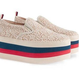 Gucci BeigeLace Slip on White Leather Sneakers